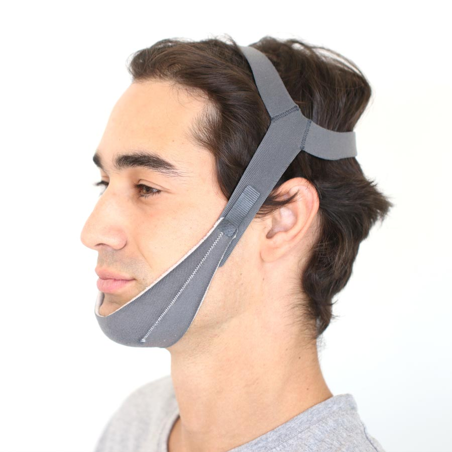 Left side of face wearing chin strap.