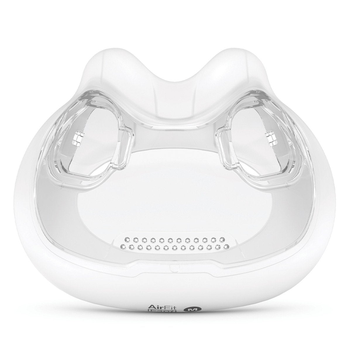 Front view of clear AirFit F30i Cushion by ResMed