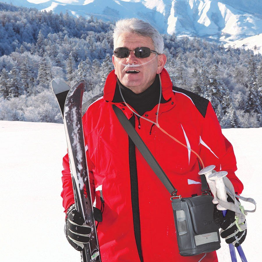 Man Skiing With Inogen One G5 Portable Oxygen Concentrator Bundle.