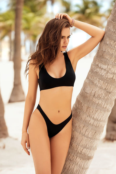 Black Two Piece Swimsuit With A Tank Style Top