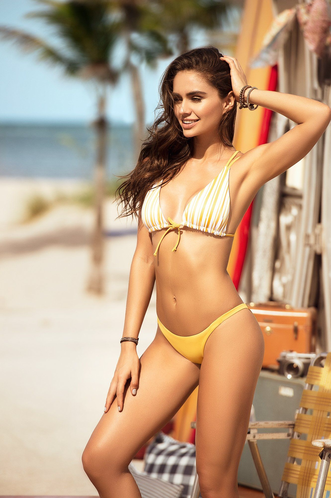 Yellow Stripe Two Piece Bikini