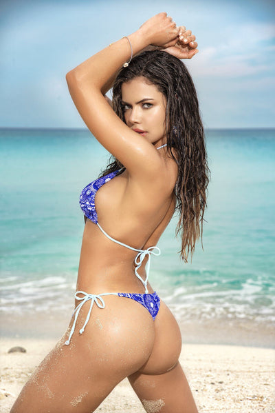 Blue Two Piece Thong Bikini With Printed Design