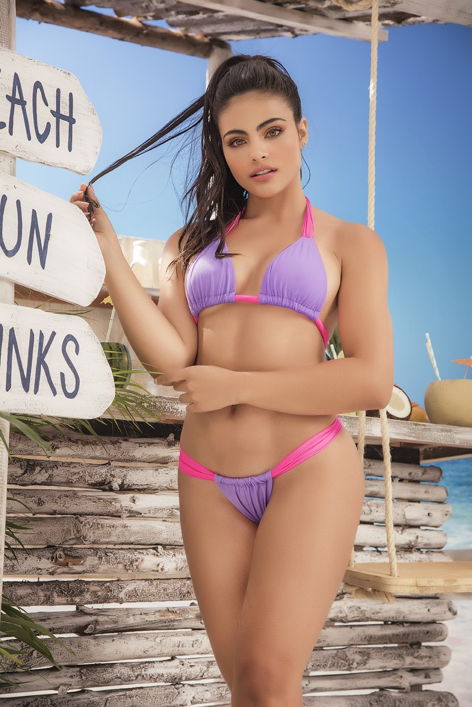 Neon Pink and Purple Thong Bikini