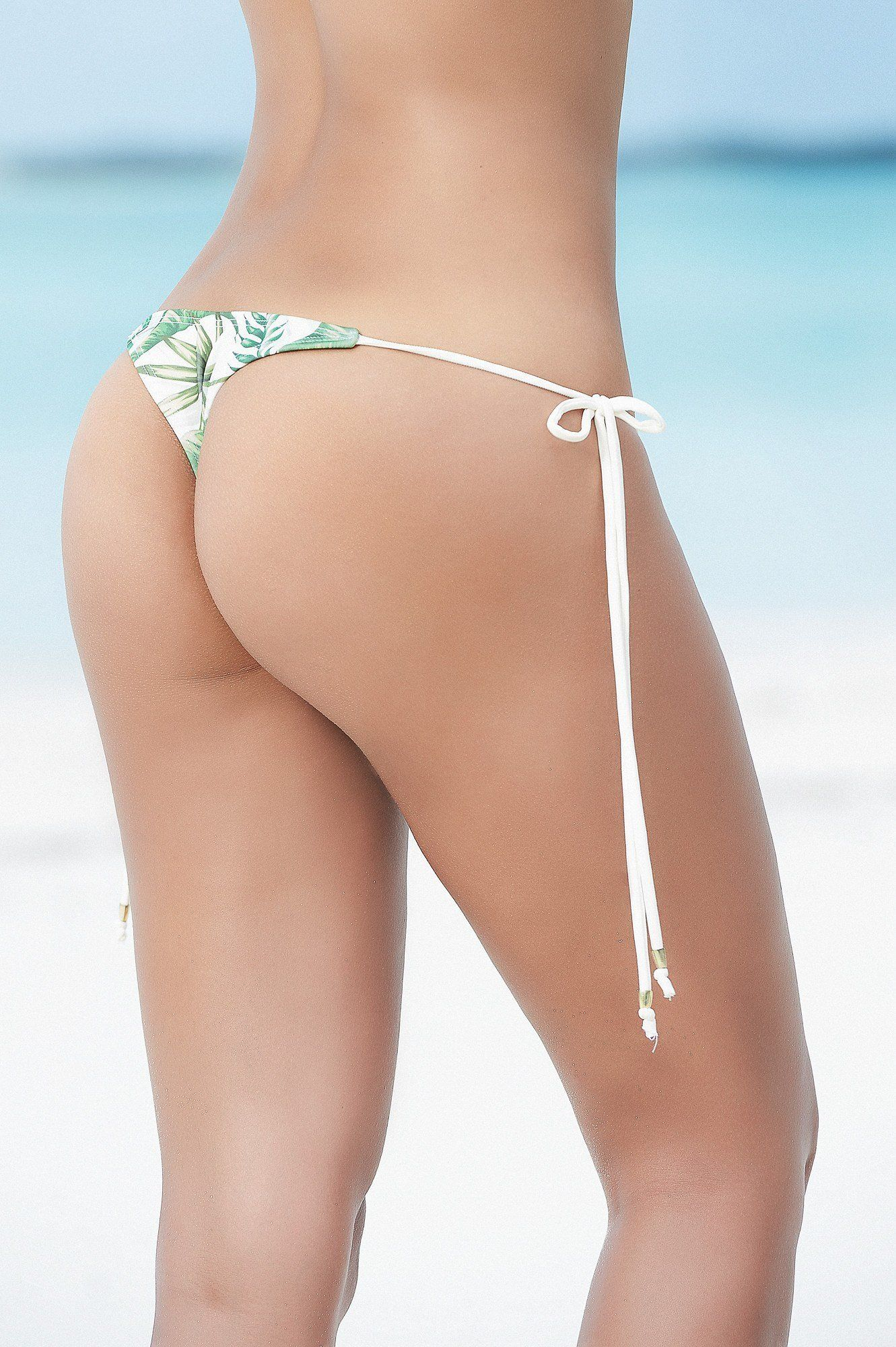 Tropical Print String Thong Bikini Bottom