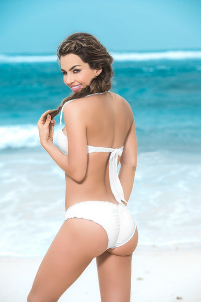 White Ruffled Scrunch Bikini Bottom