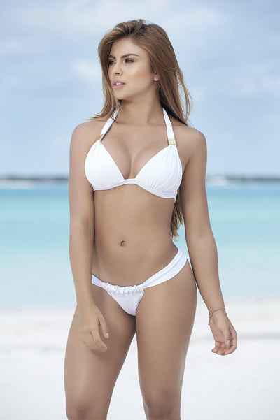 White Push Up Triangle Bikini Top