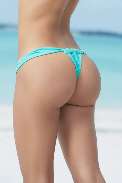 Aqua Blue Micro Adjustable Thong Bikini Bottom