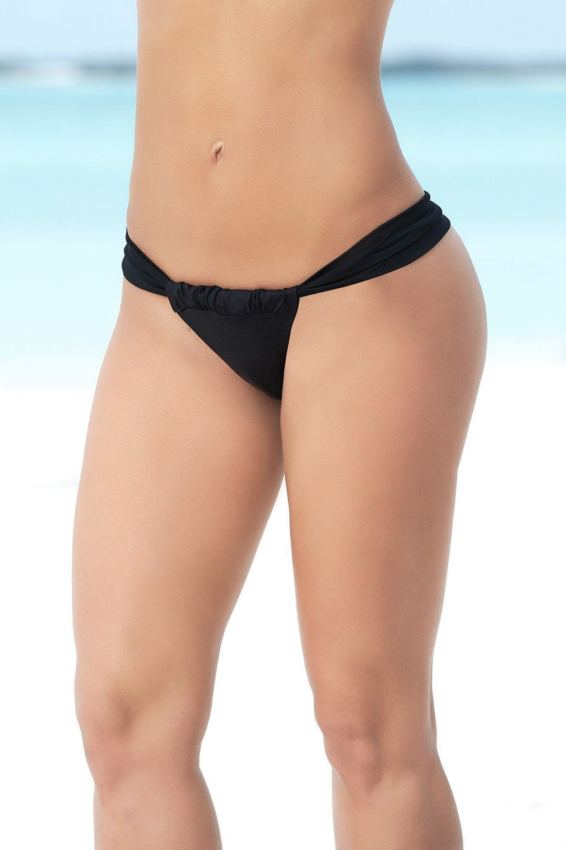 Black Micro Adjustable Thong Bikini Bottoms