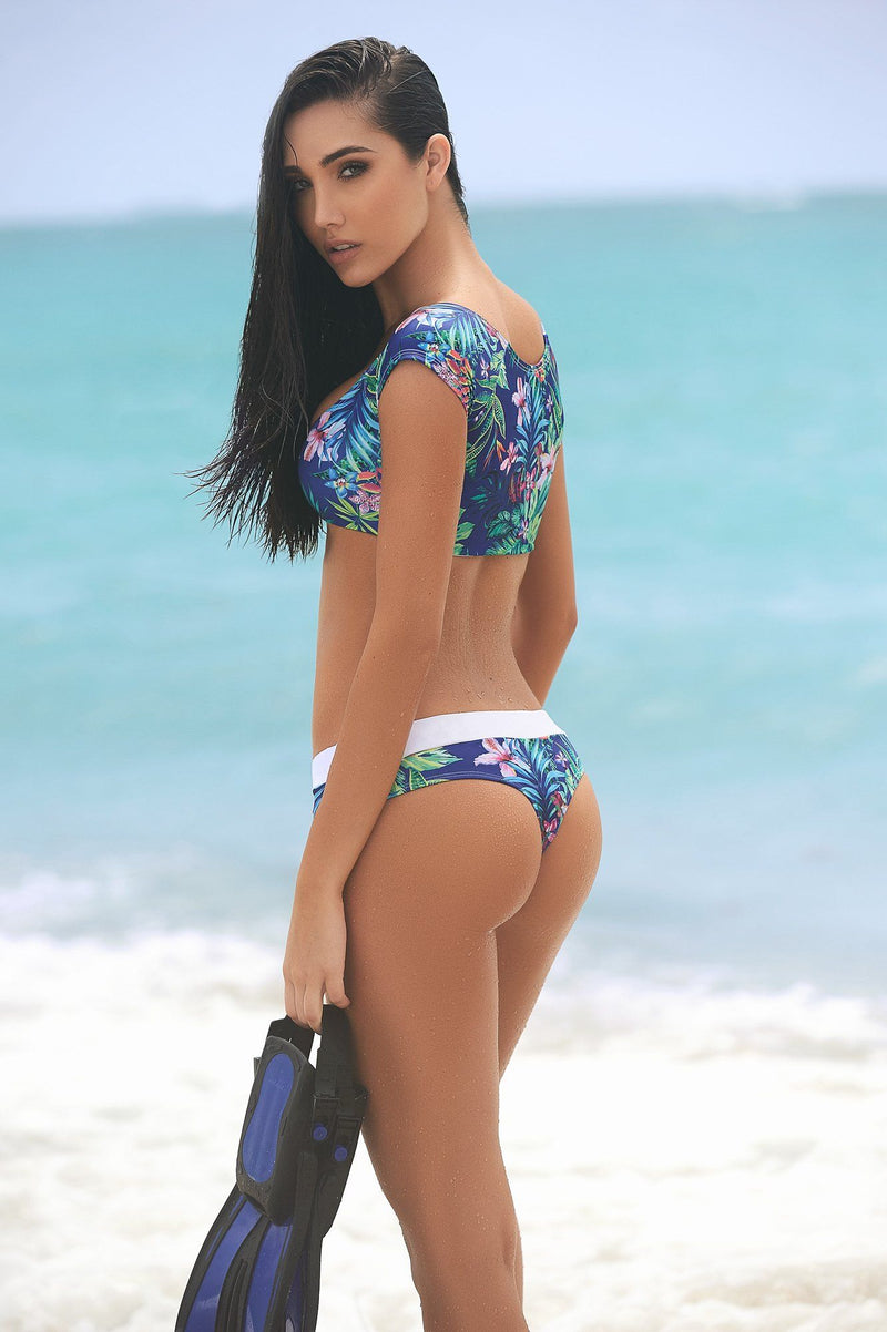Two Piece Floral Thong Bikini