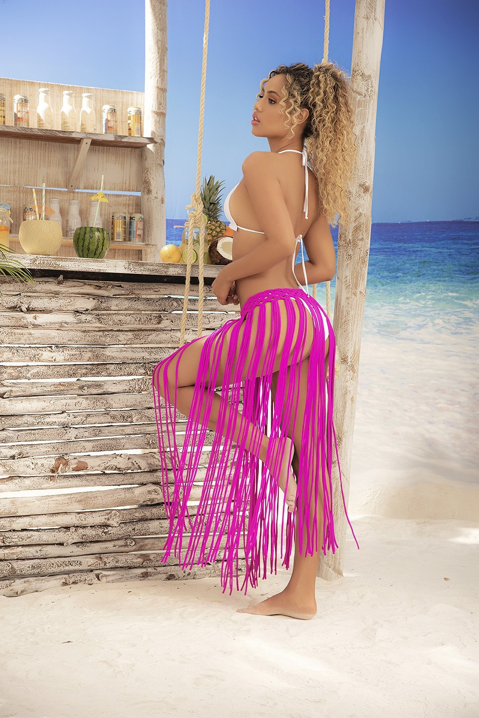 Magenta Hand Woven Fringe Cover Up