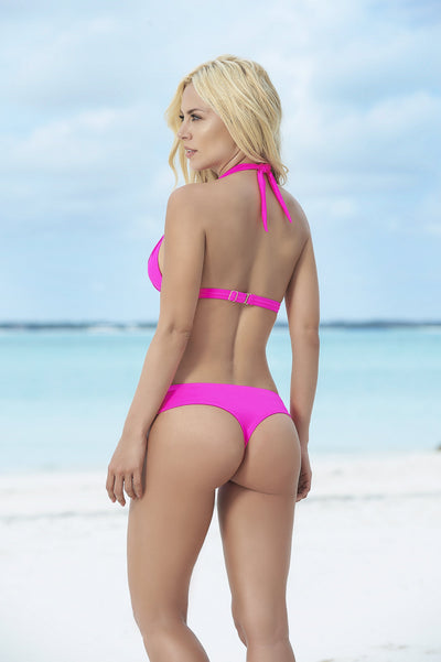 Hot Pink Push Up Triangle Bikini Top