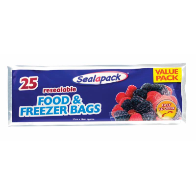 Sealapack Resealable Food And Freezer Bags 25 Pack