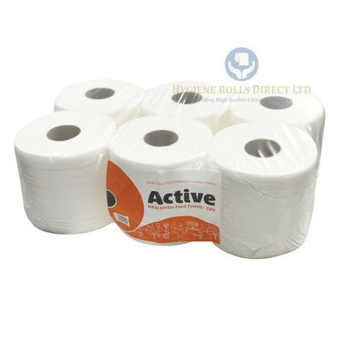 Active White Centre Feed Rolls Towels 2Ply