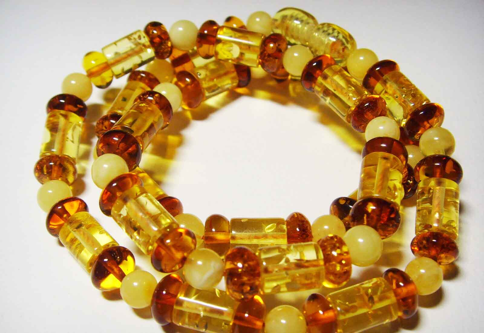 Baltic Amber Necklace for Adults with Multicolor Beads