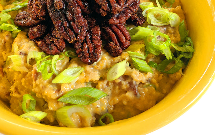 RECIPE: Sharp Cheddar Grits with Bacon, Scallions, and Firekracker Pecans