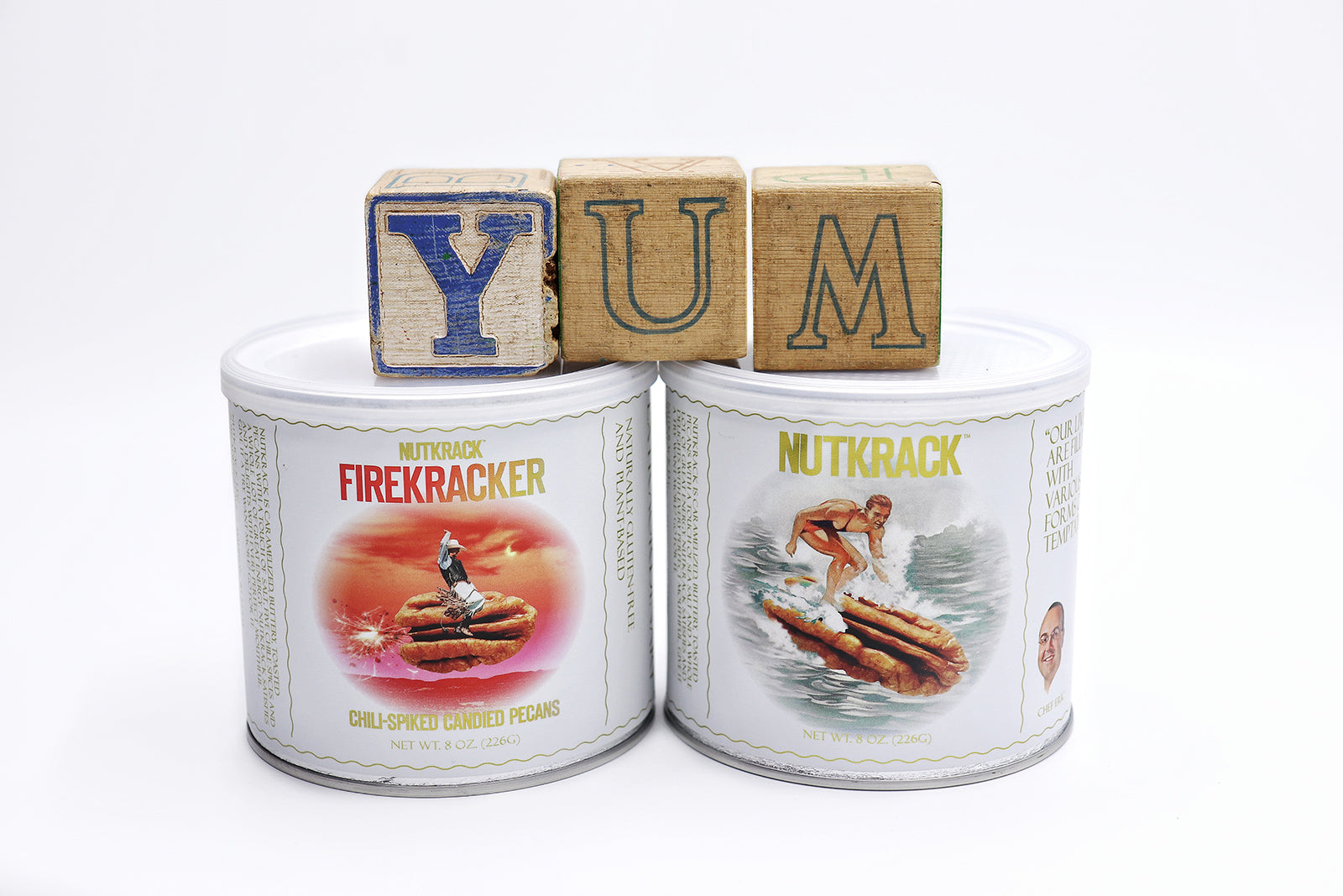 YUM blocks on cans of Firekracker and Nutkrack