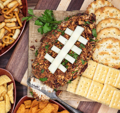 Football Shaped Candied Pecan Cheese Ball Dip with Crackers