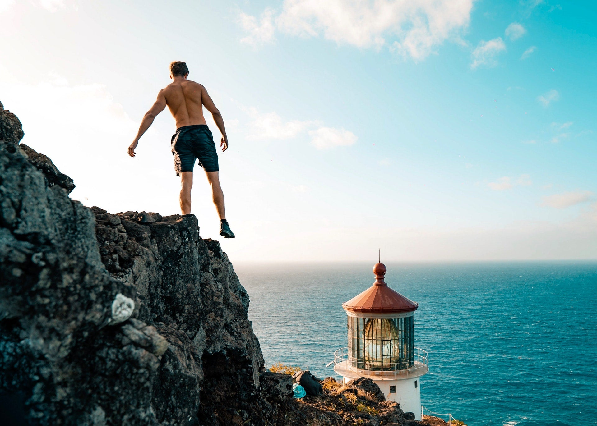 guy standing on cliff