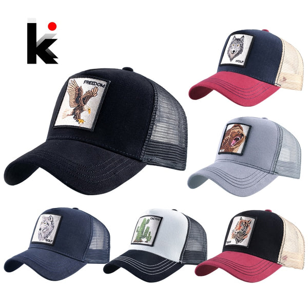 Animals Embroidery Mesh Cap