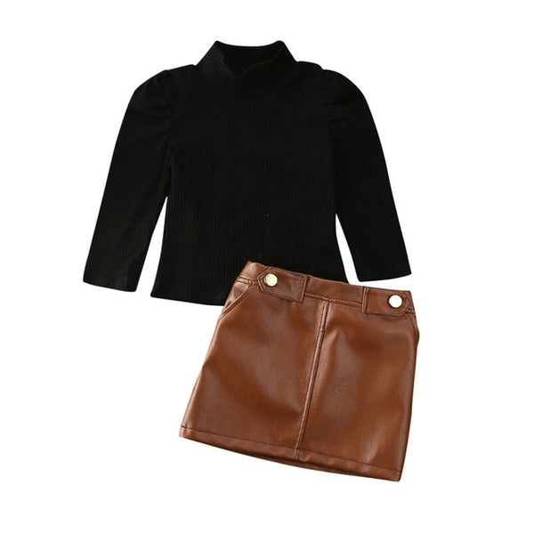 Sweater Top & PU Leather Skirt (Collection 1)