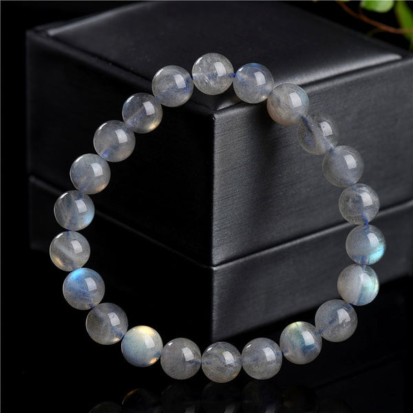 Natural Grey-Blue Moonstone Beads Bracelet