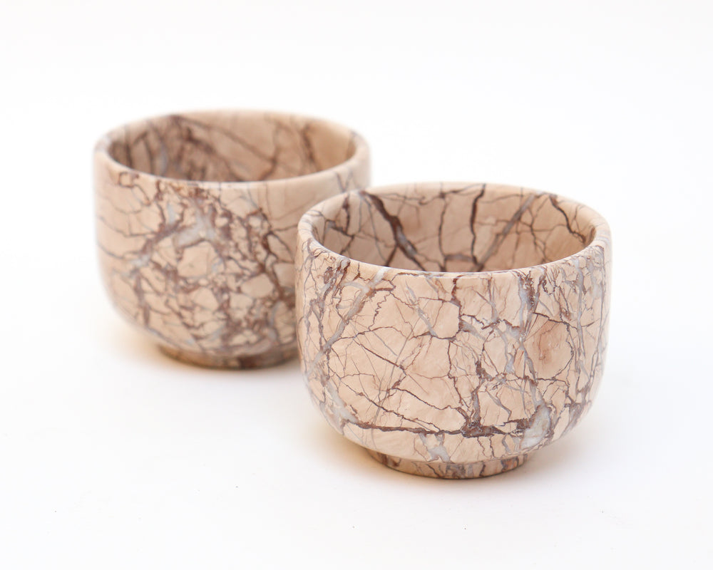Small Marble Bowl with Quartz Veins - Anza Studio