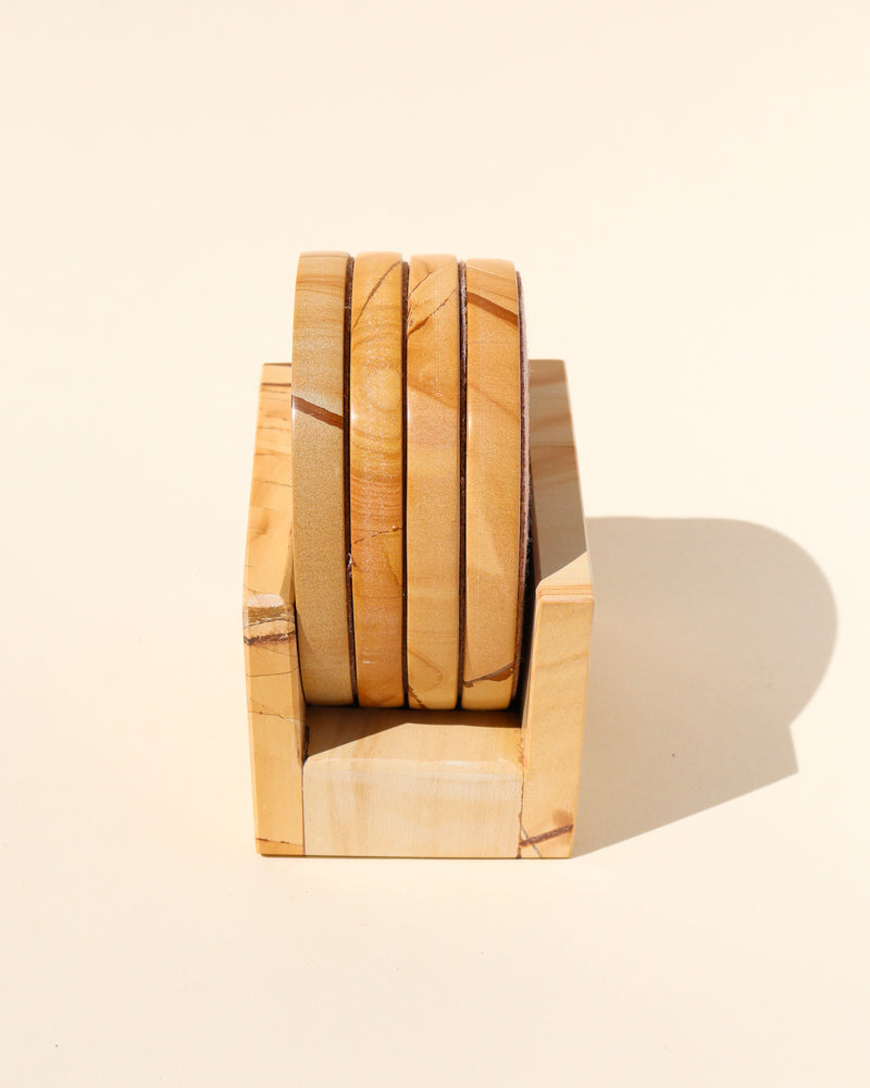 Teakwood Marble Coaster Set - Anza Studio