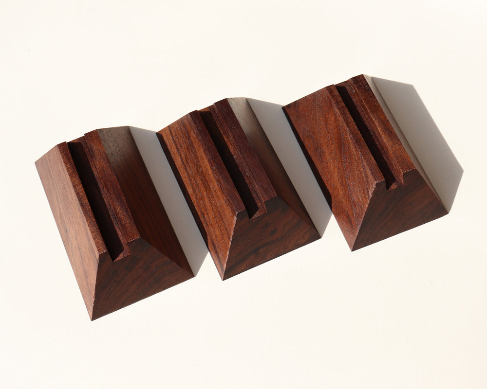Geometric Wood Slab Stand - Anza Studio