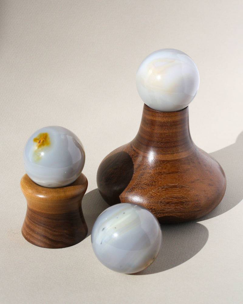 Load image into Gallery viewer, 'Vulcan' Wood Crystal or Sphere Stand - Anza Studio