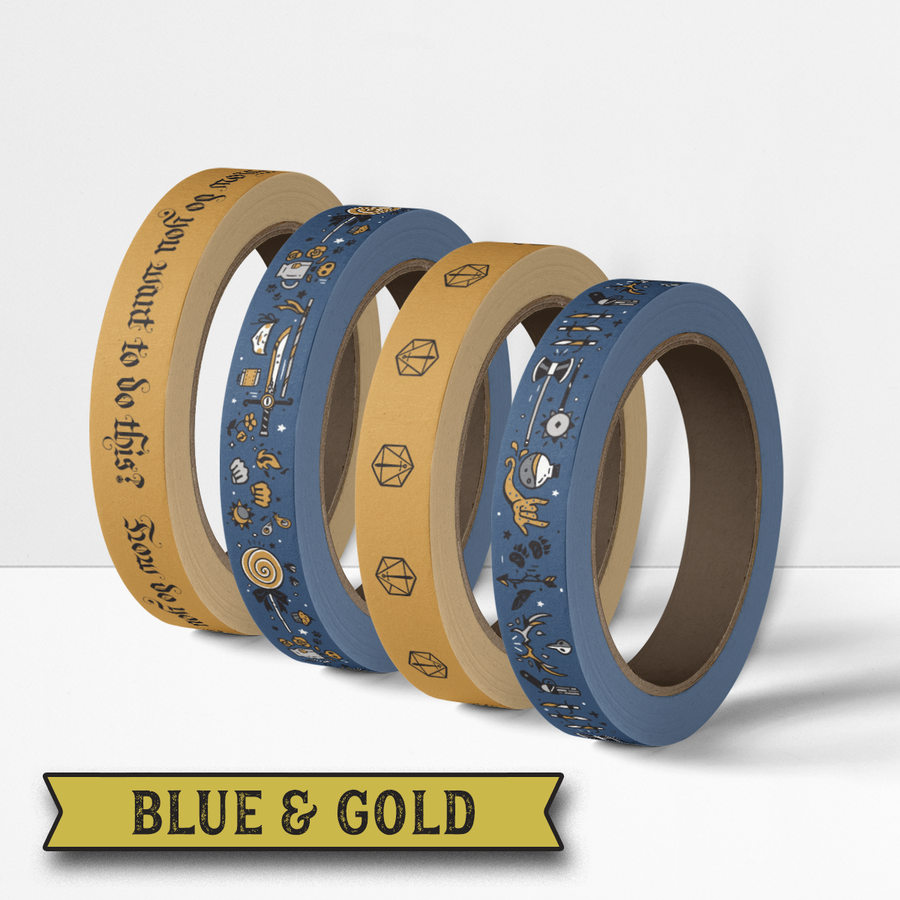 Critical Role Washi Tape 4 Pack: Blue & Gold