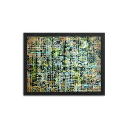 GREEN AND YELLOW FRAMED ARTWORK