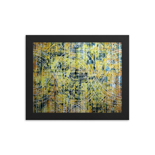 TEAL AND YELLOW FRAMED ARTWORK