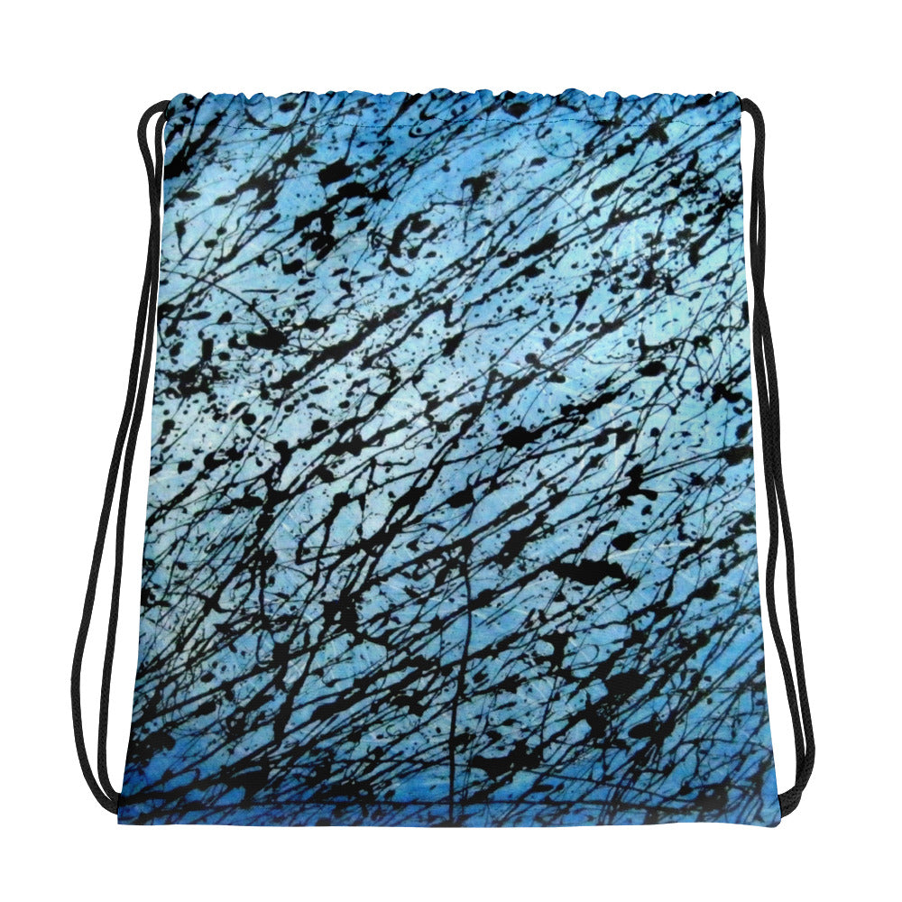 BLACK AND BLUE DRAWSTRING BAG