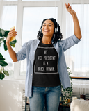 My VP is a Black Woman Short-Sleeve Unisex T-Shirt (framed-white text)