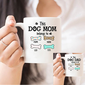 This Dog Dad - Mom belongs to - Personalized T-shirt Mug APDM101