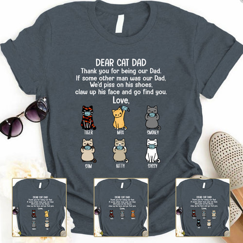 Dear Cat Dad Thank you Personalized T-shirt mug for Cat lover APCM003