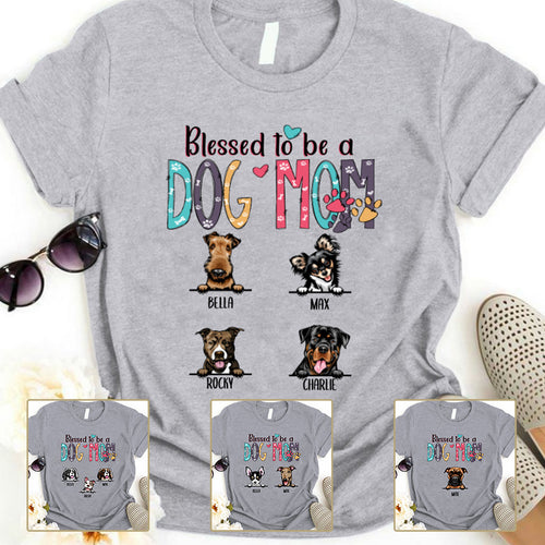 Blessed to be called Dog mom Personalized T-shirt Mug Gift for Dog Mom APDM103