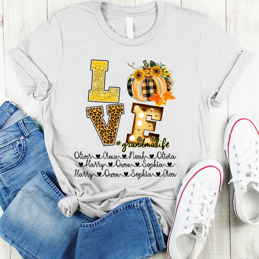 Love Grandma life - Mom Life Autumn Leopard Personalized T-shirt APGM002