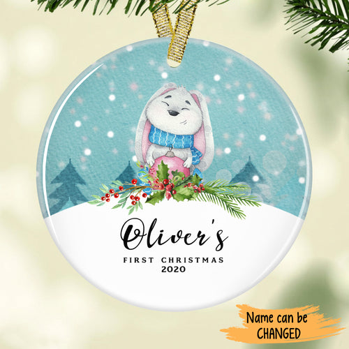 Cute grey bunny in scarf - Baby's First Christmas Personalized Ornament ONFM002