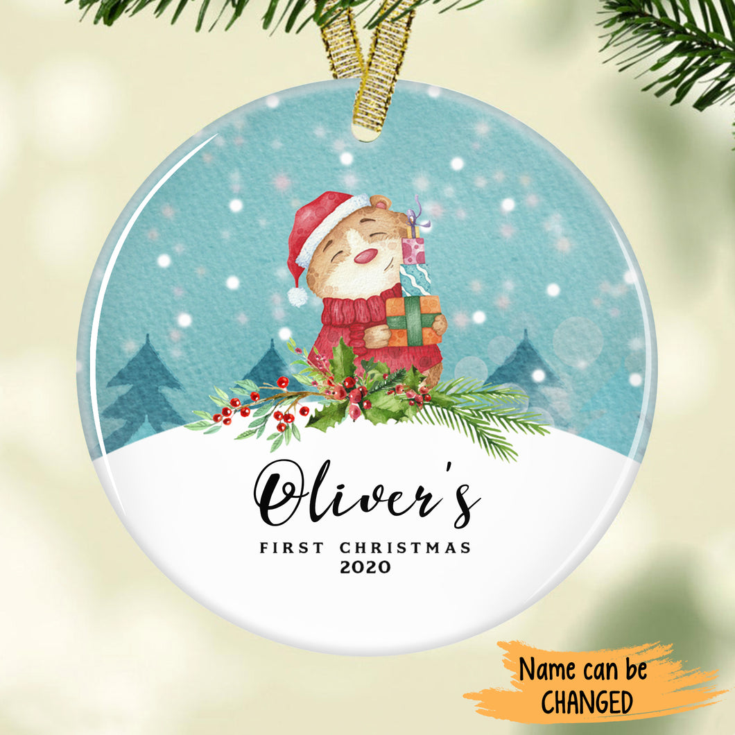 Cute Hamster Baby's First Christmas Personalized Ornament ONFM002