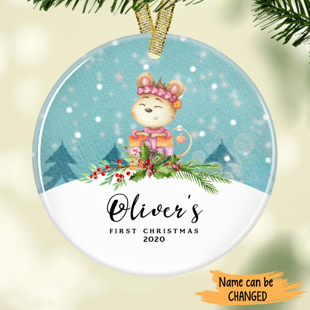 Cute mouse Baby's First Christmas Personalized Ornament ONFM002