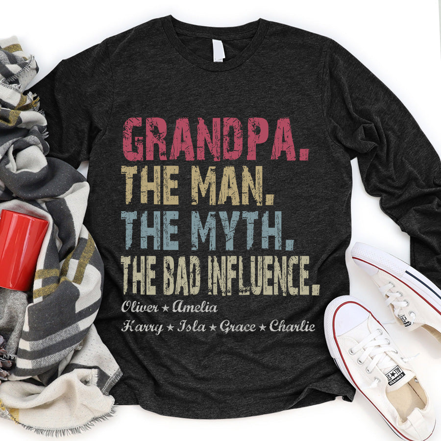 Papa The Man The Myth The Bad Influence Personalized Titles and Grandchildren names T-shirt APGP002