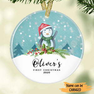 Cute Penguin - Baby's First Christmas Personalized Ornament ONFM002