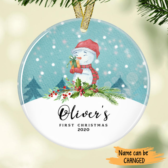 Cute Snowman Baby's First Christmas Personalized Ornament ONFM002