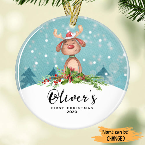 Cute Deer - Baby's First Christmas Personalized Ornament ONFM002