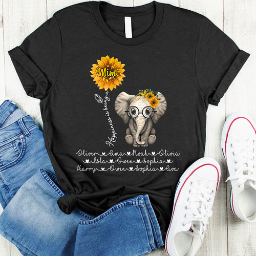 Happiness is being Grandma - Mom Cute Elephant Sunflower Personalized T-shirt Mug Perfect gift for Mom Grandma APGM006