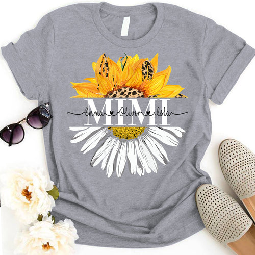 Grandma Mom Sunflower Daisy Personalized Grandchildren Names APGM011