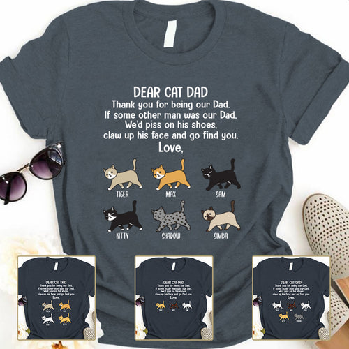 Dear Cat Dad Thank you Personalized T-shirt mug for Cat lover APCM005