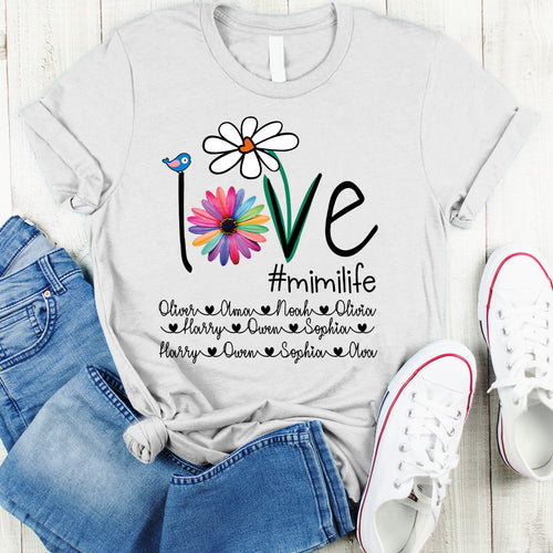 Love Grandma life - Mom life Cute Colorful Flower Personalized T-shirt Mug APGM005