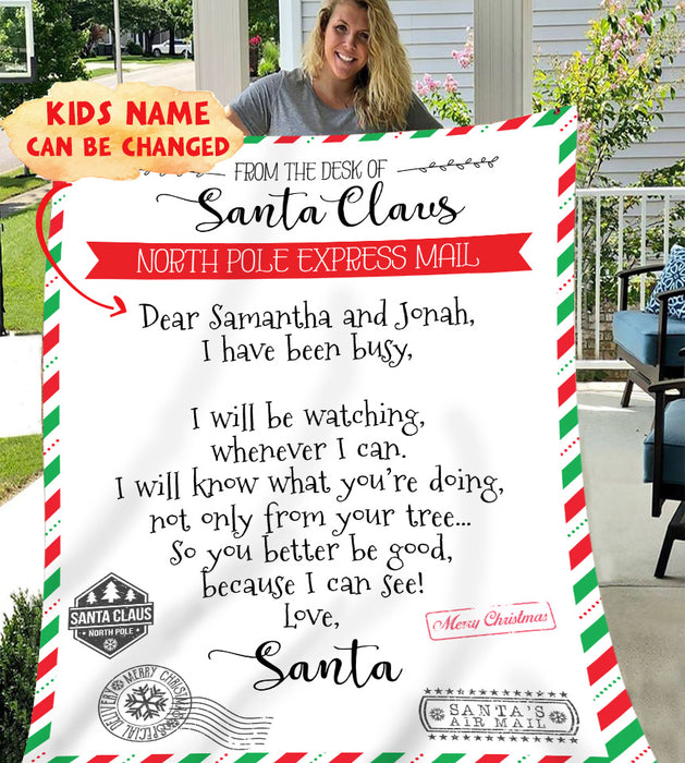 Mail from the desk of Santa Claus Personalized Blanket BLCR002